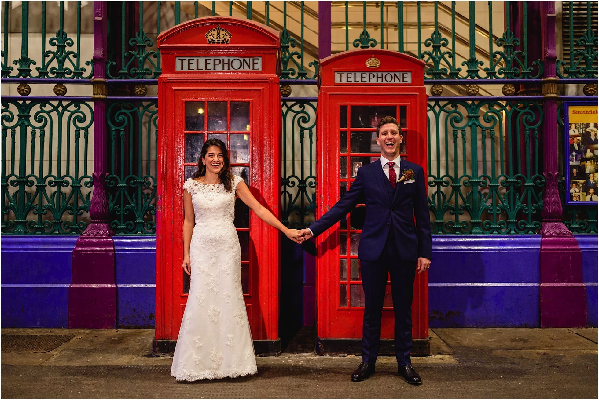 smithfield market telephone boxes wedding photographs