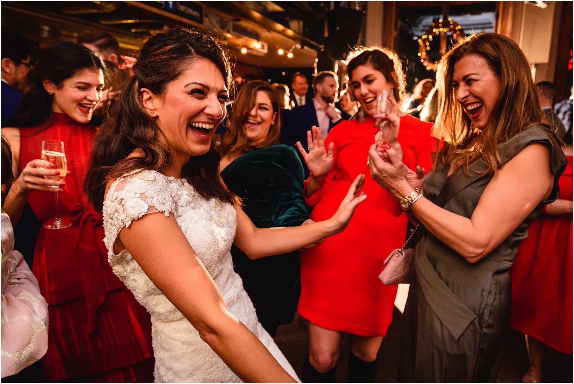 st bart's brewery wedding photographer shot of reception dancing