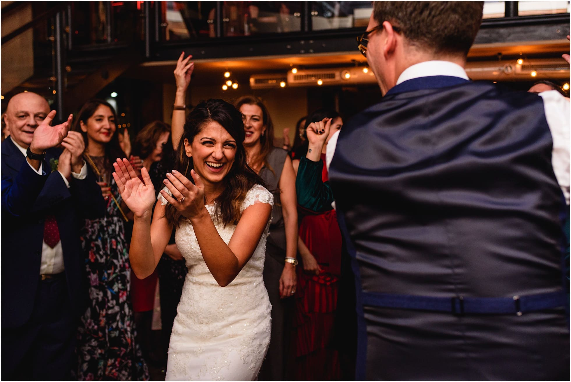 bride and groom dancing at london pub wedding