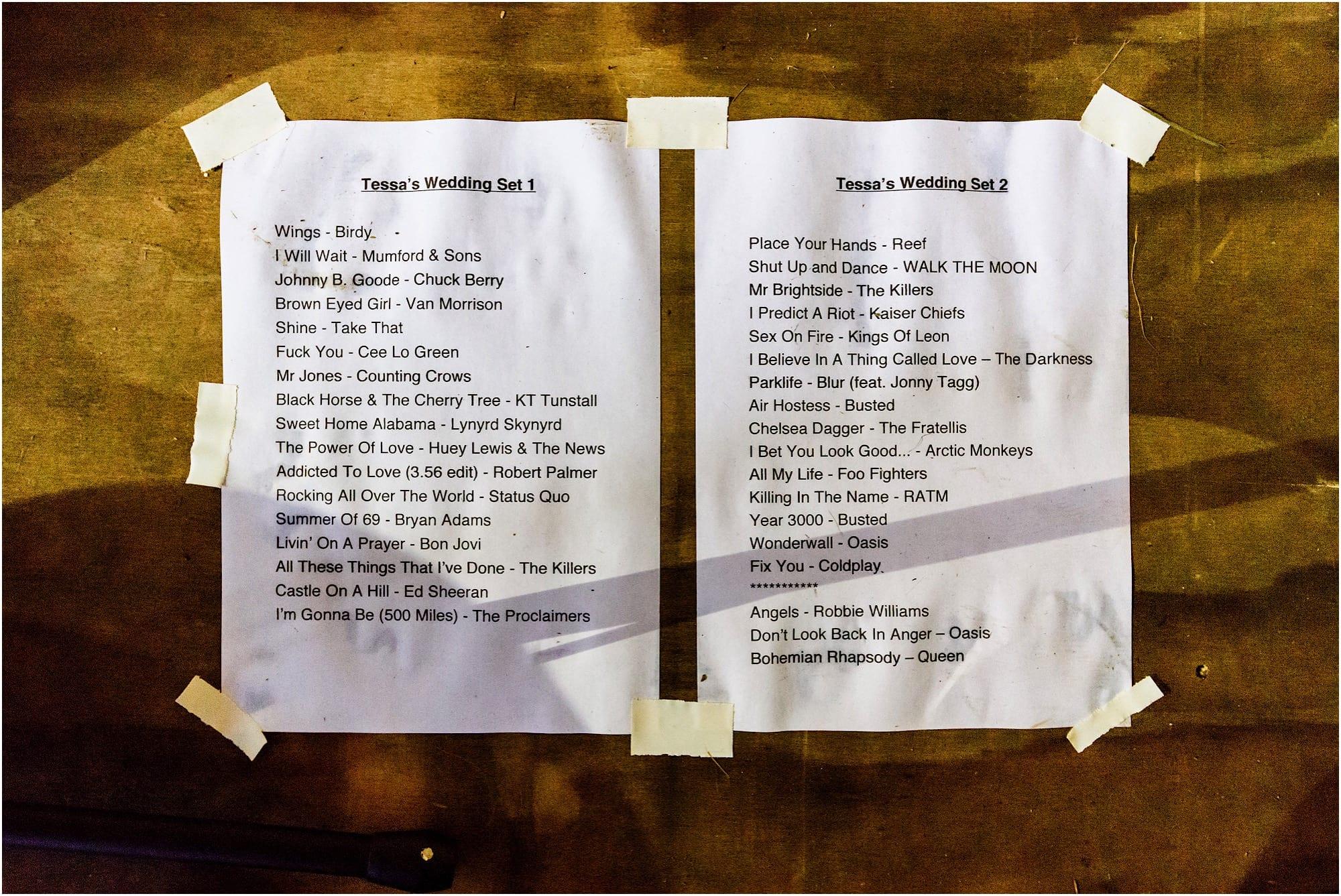 brilliant wedding set list