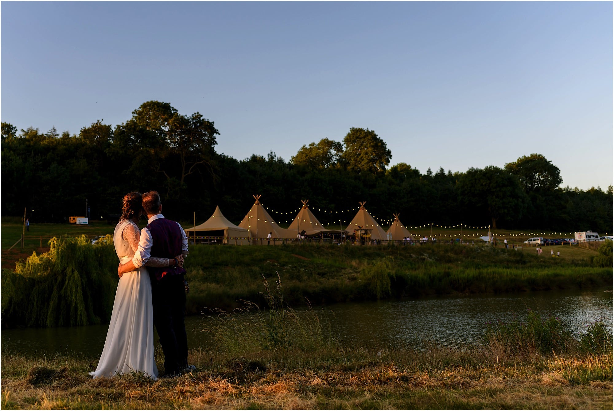 looking over the lake to the tipi