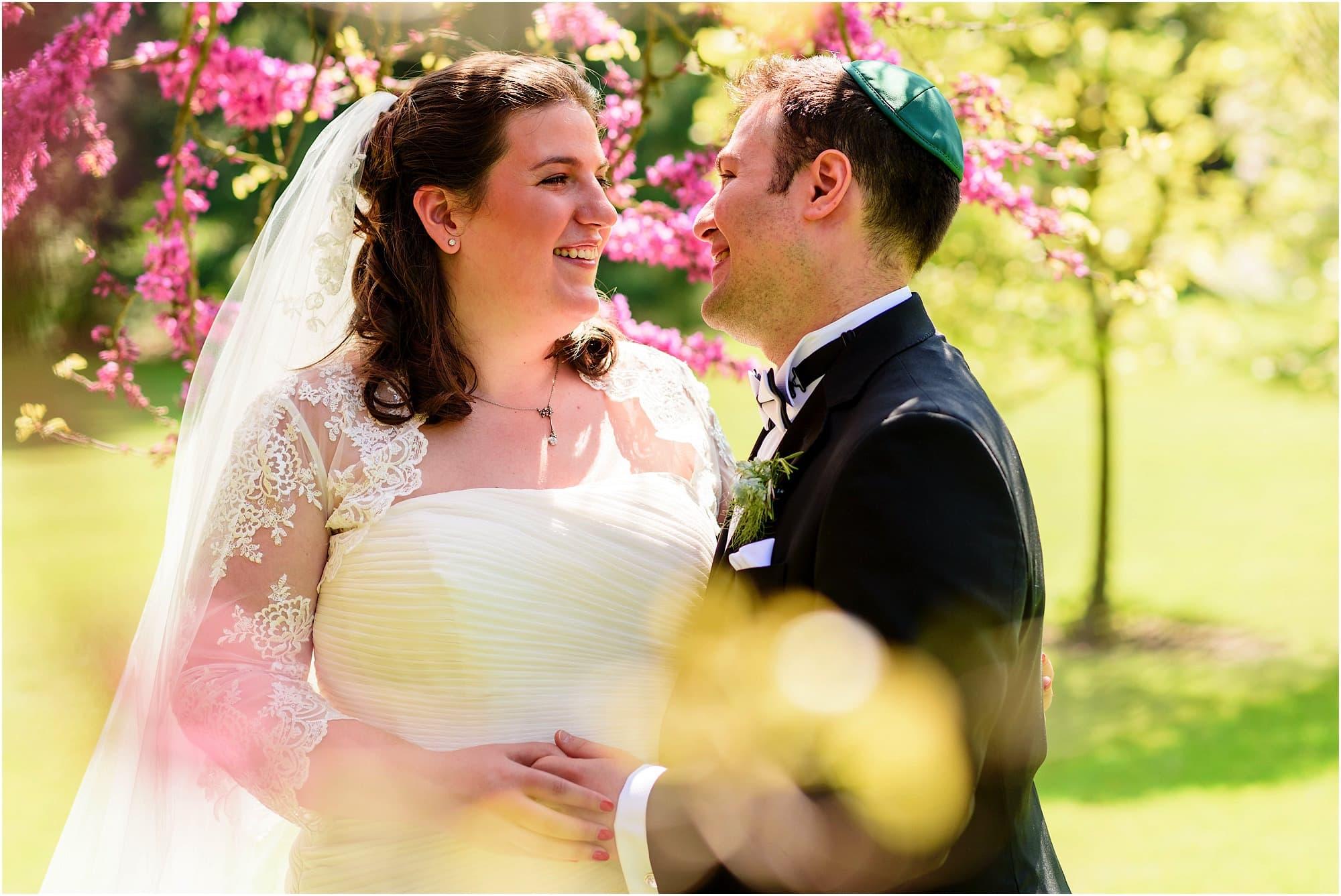 portrait of bride and groom in the fellows garden, kings college cambridge university