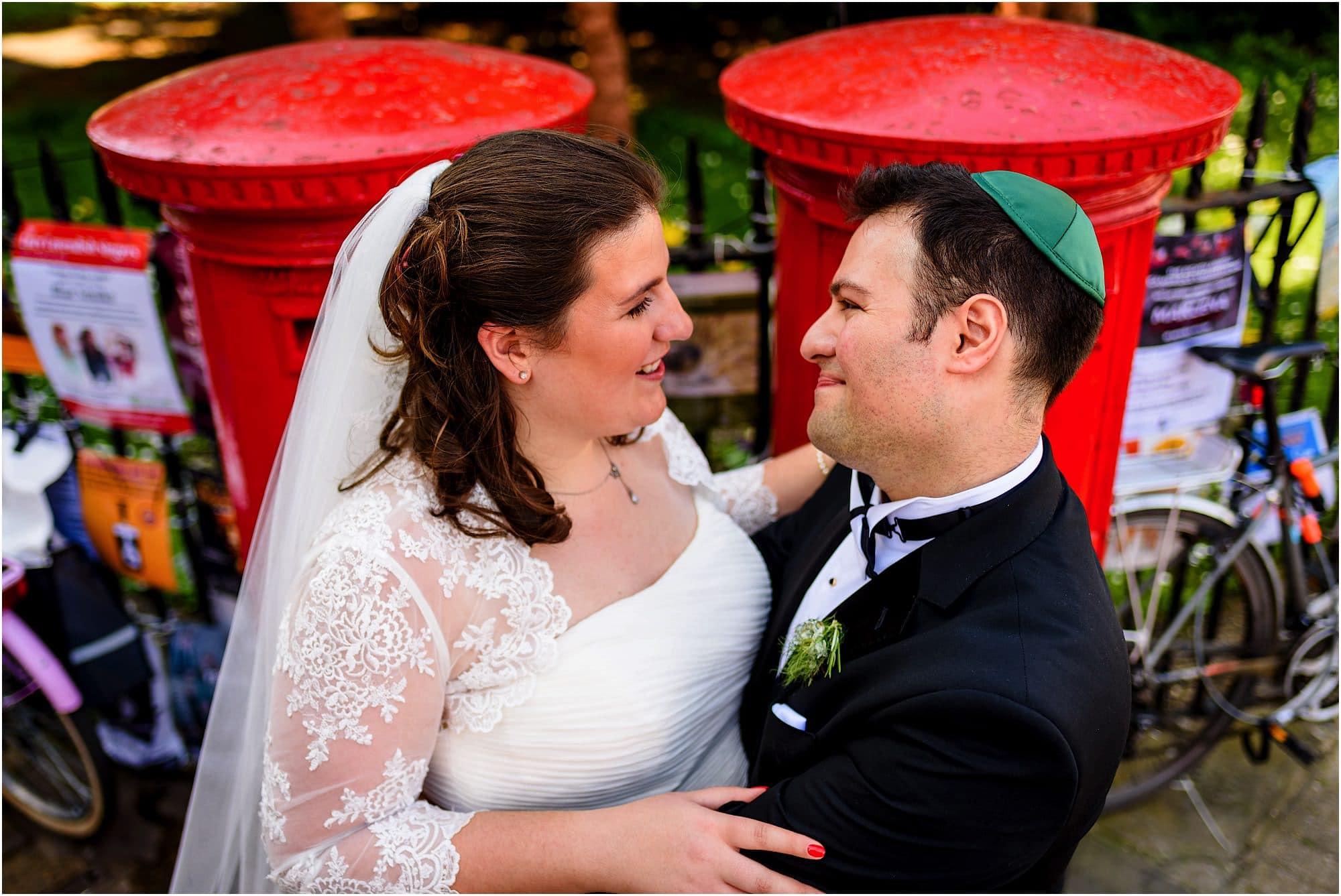 Red post boxes wedding photo jewish