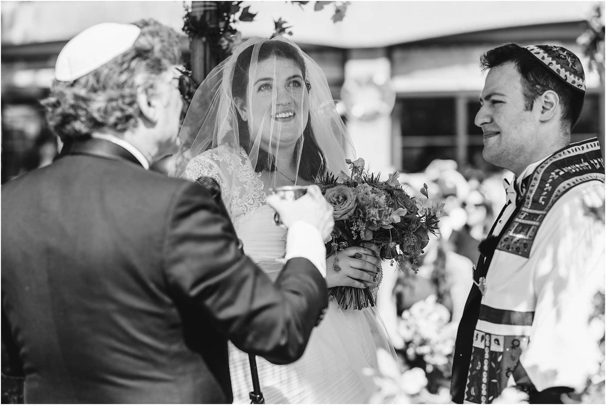 bride ceremony black and white