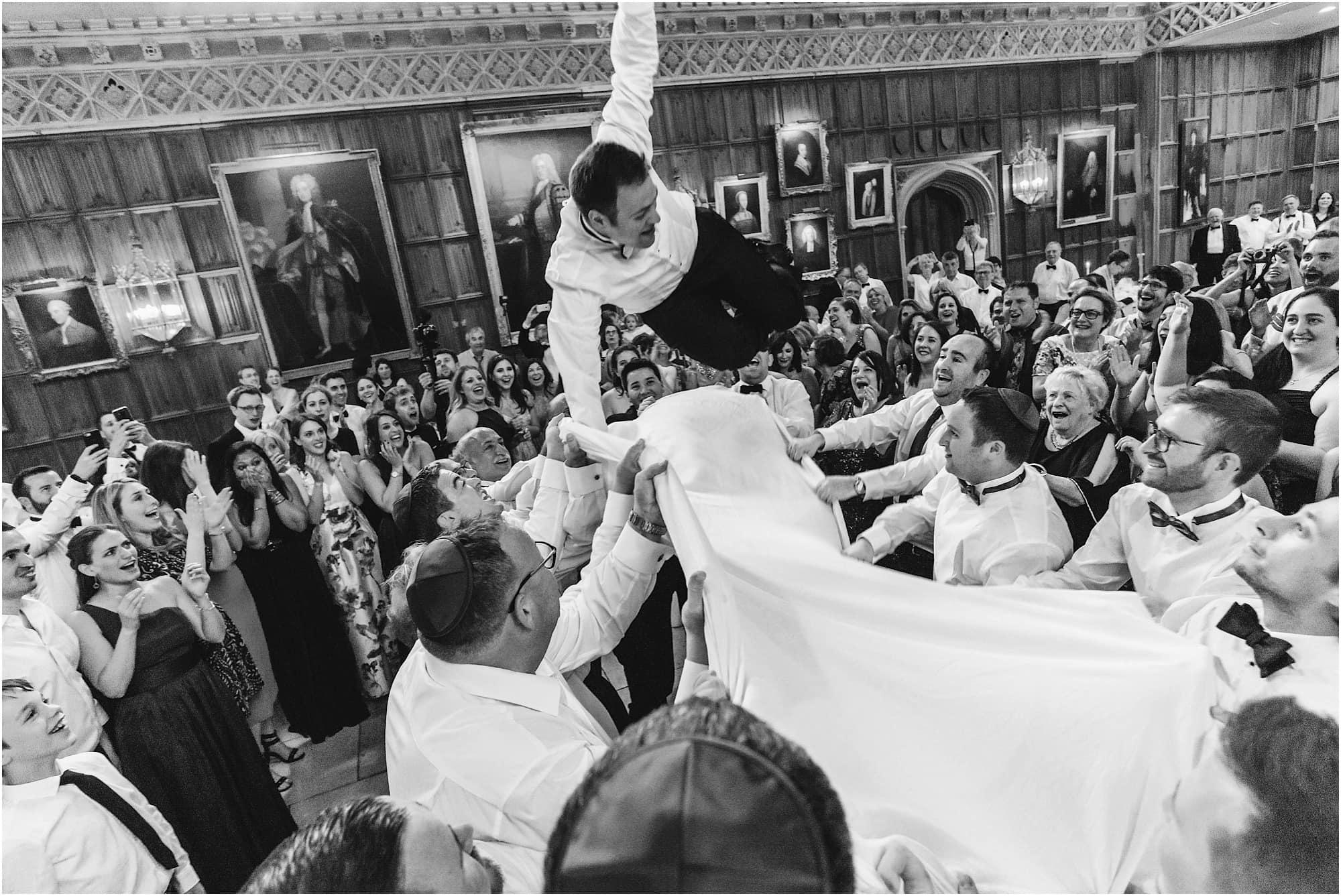 Israeli dancing groom thrown into the air