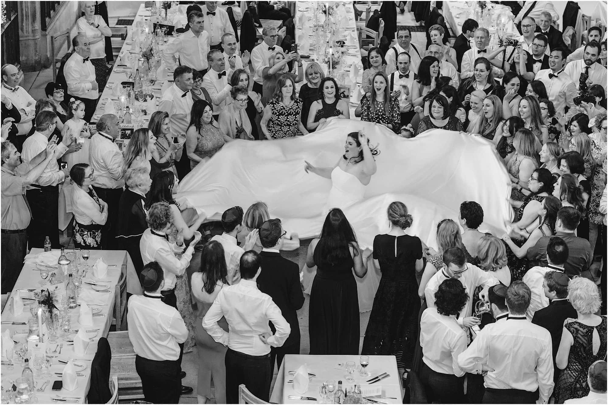 Israeli dancing bride wide dress