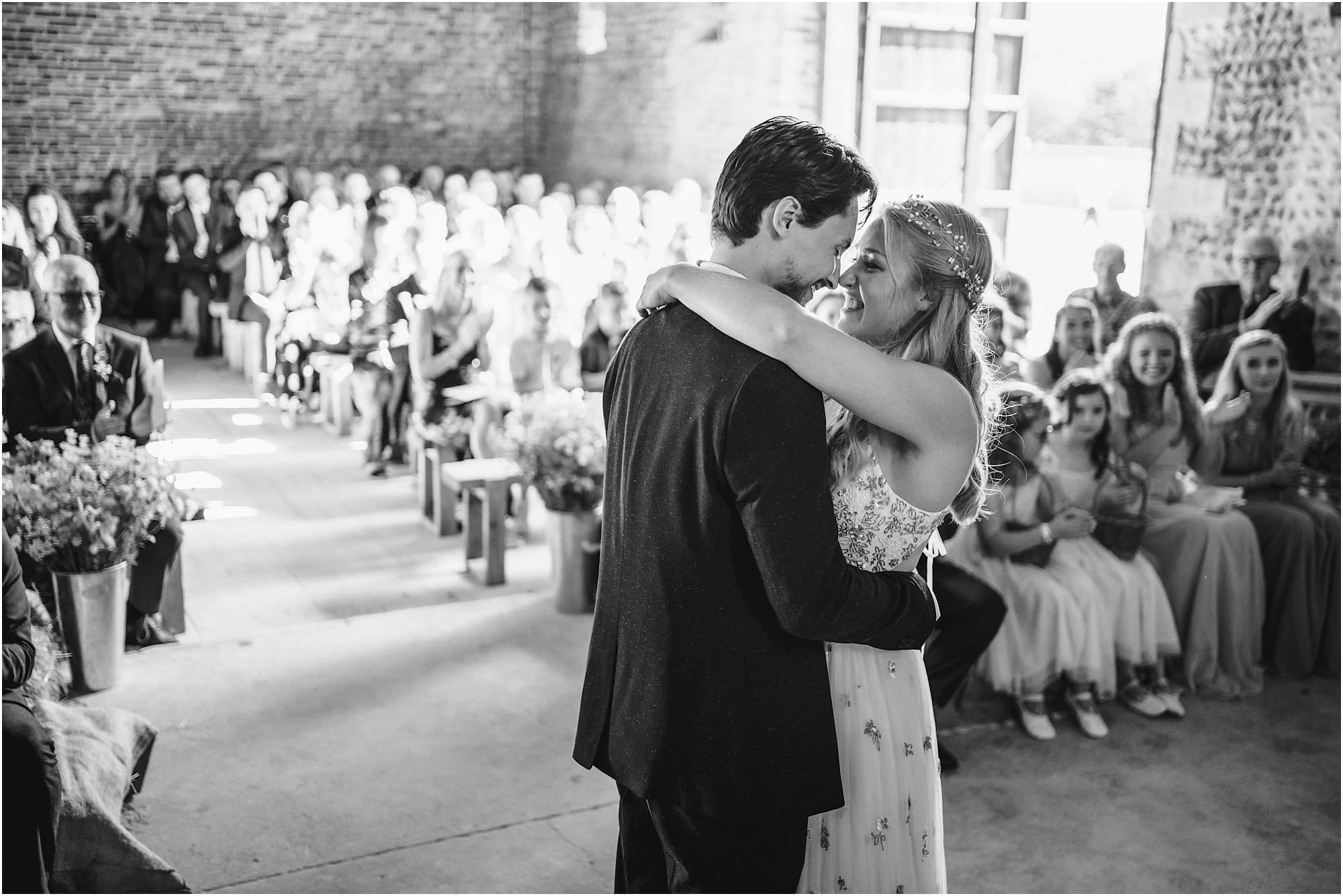 black and white photo of Waxham bride and groom