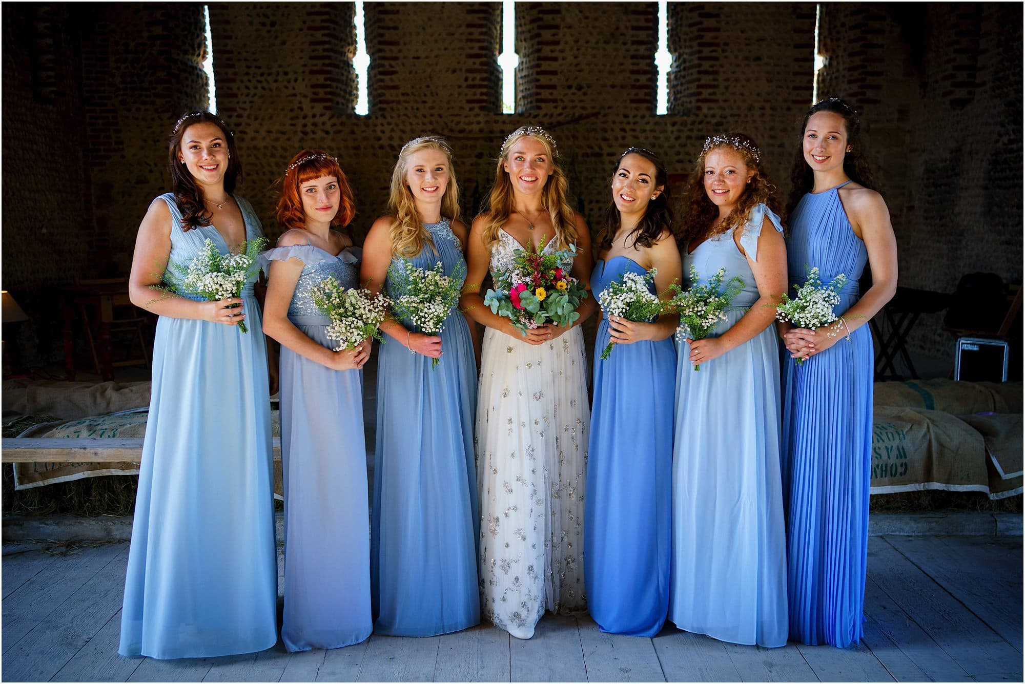 bridesmaid shot in the barn