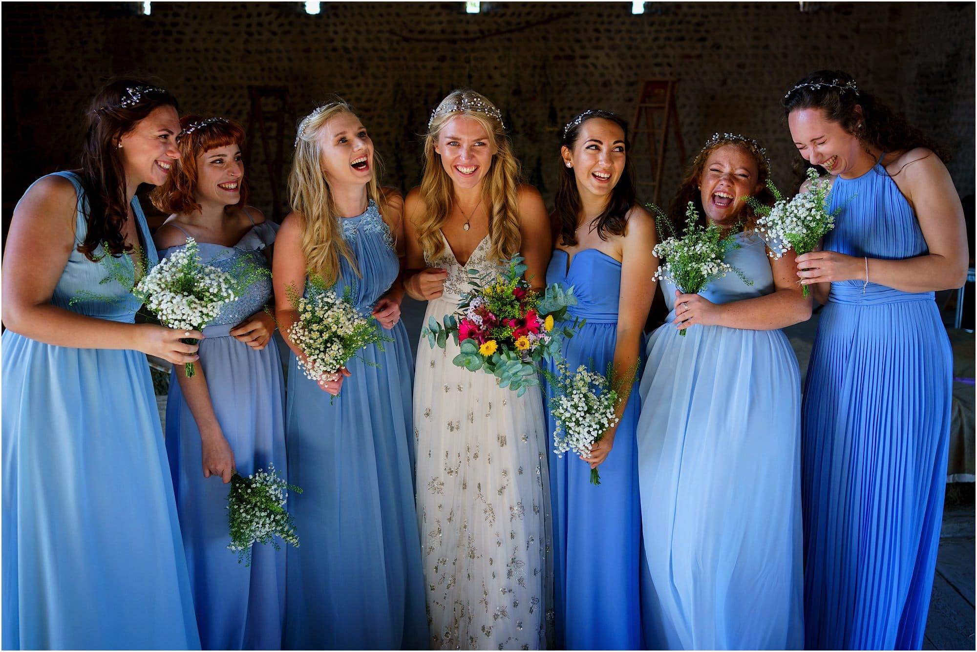 natural laughing shot of the bridesmaids