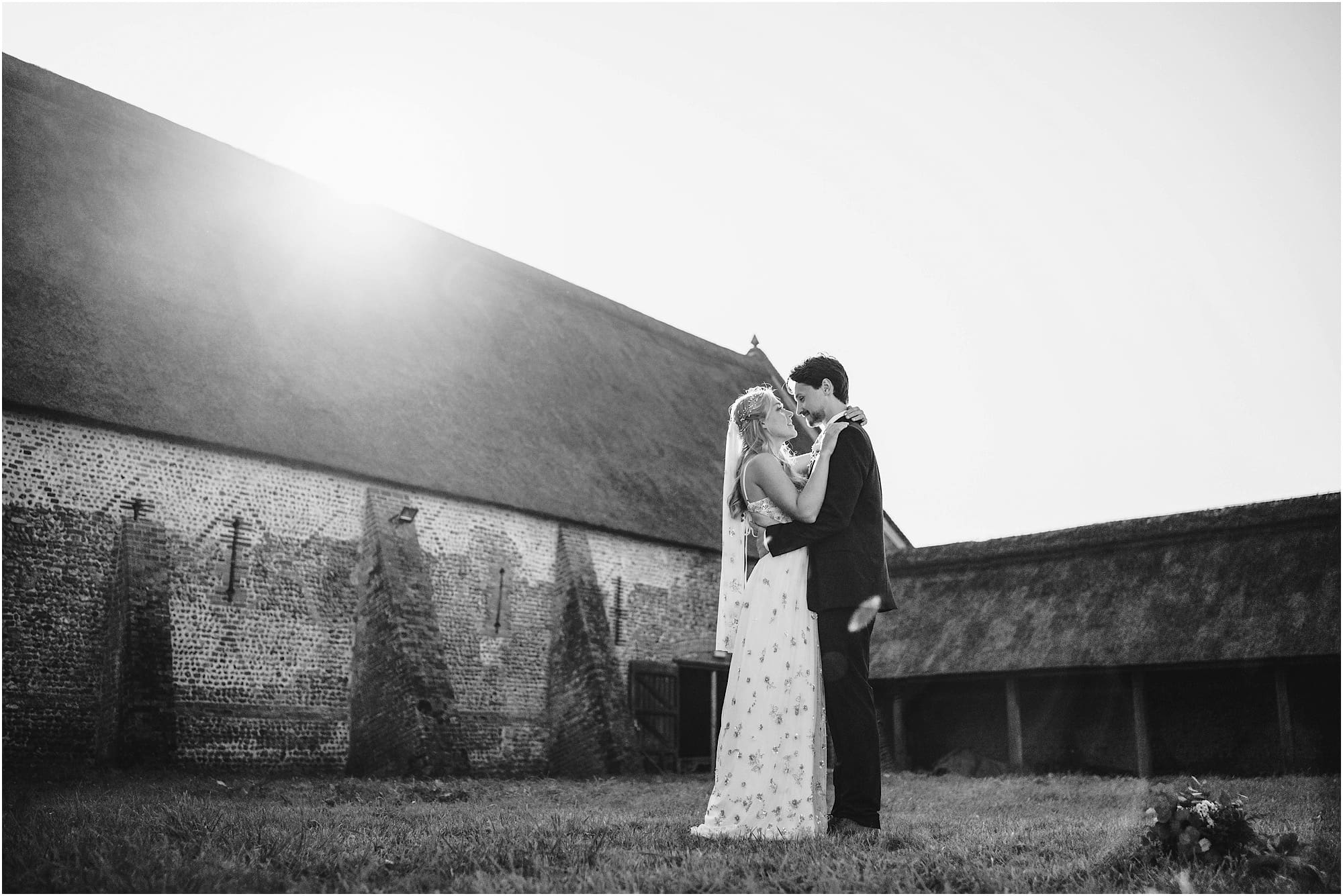 black and white bride and groom wedding photo at Waxham