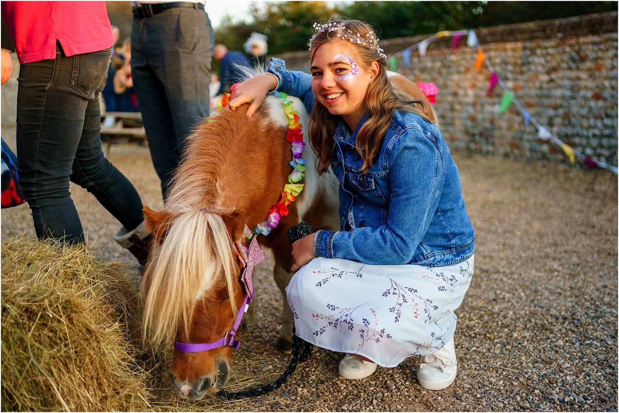 donkey and happy girl