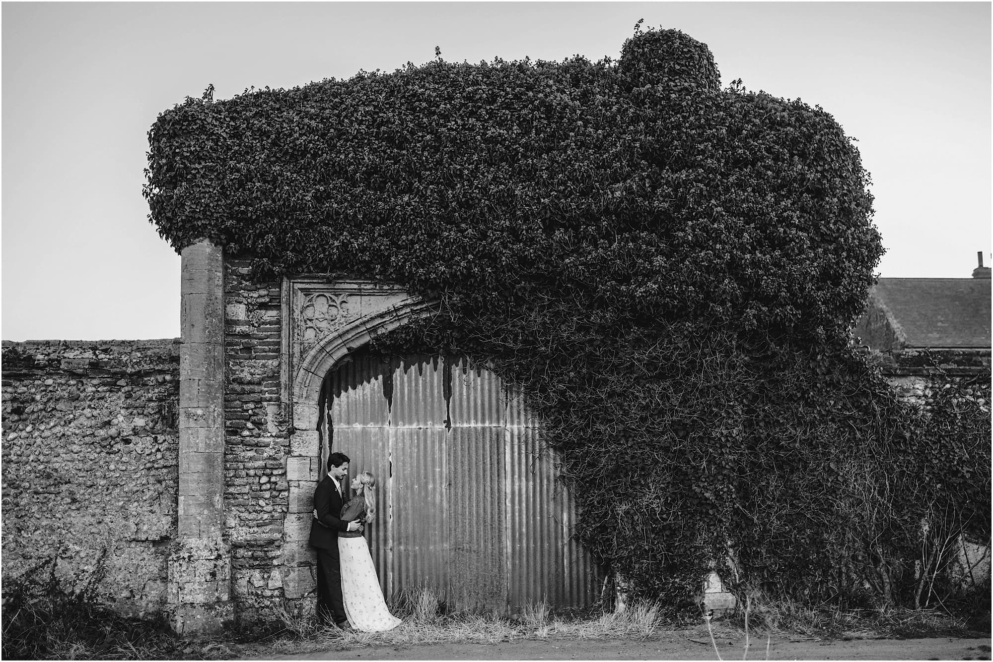 barn doors black and white portrait