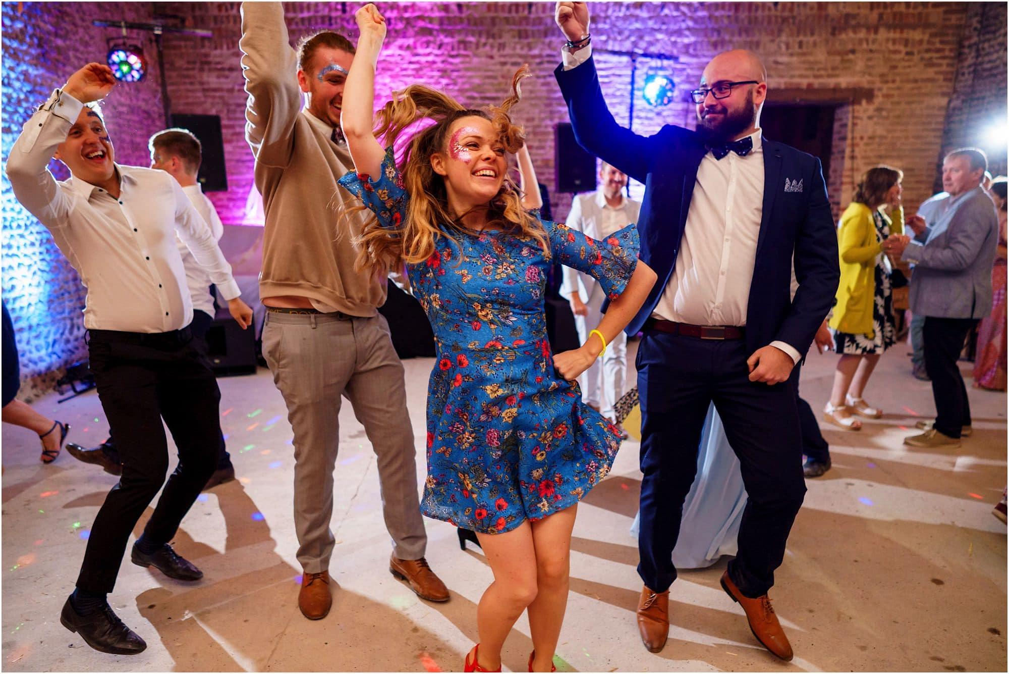 Waxham Barn Wedding reception fun
