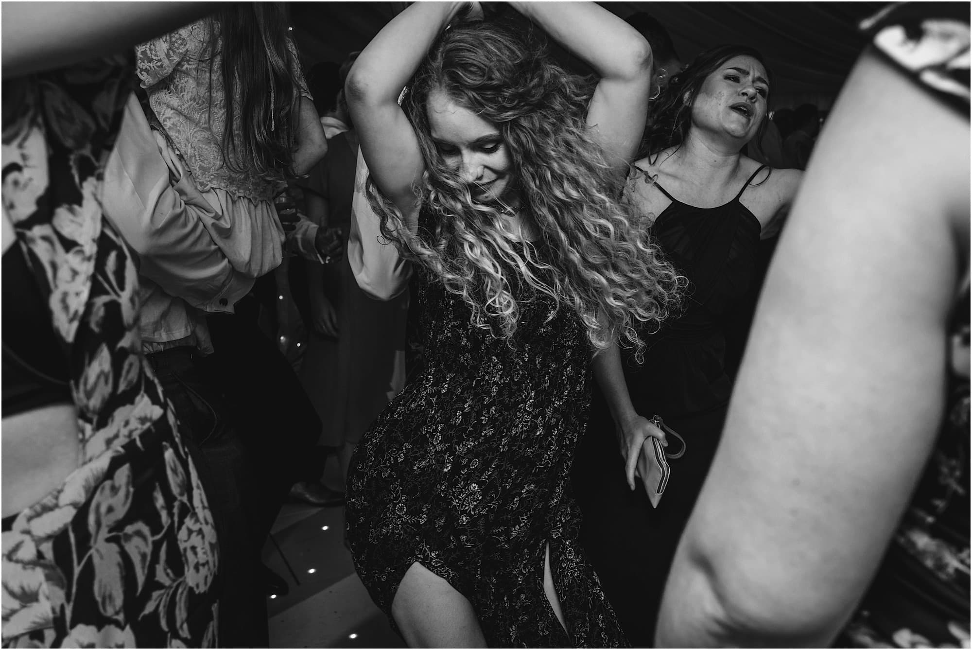 dancing girl in black and white