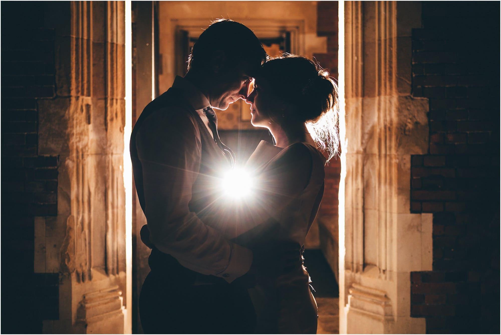 Romantic photo of bride and groom