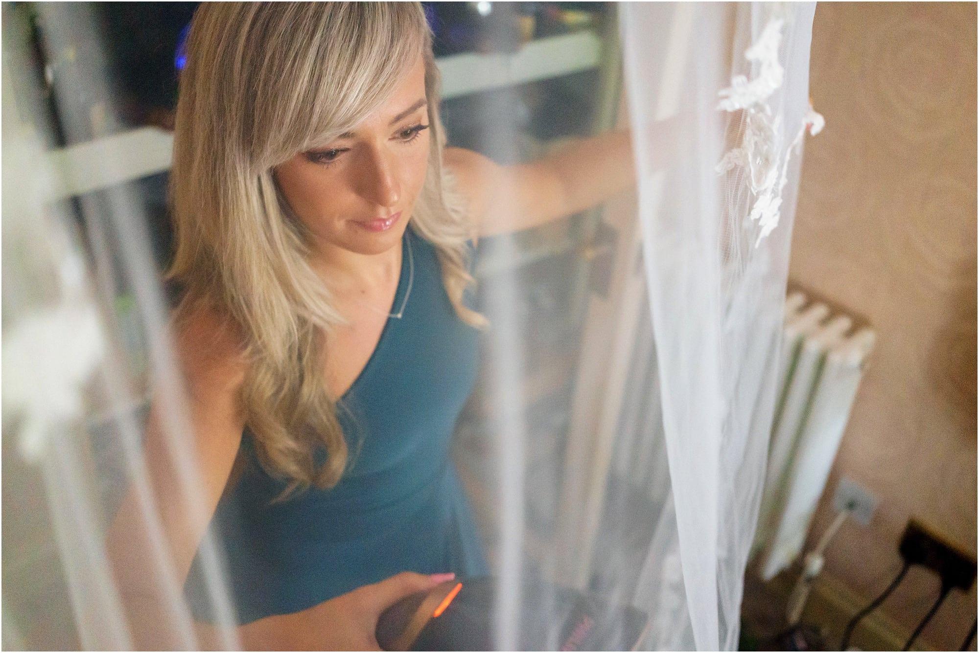 veil and bridesmaid