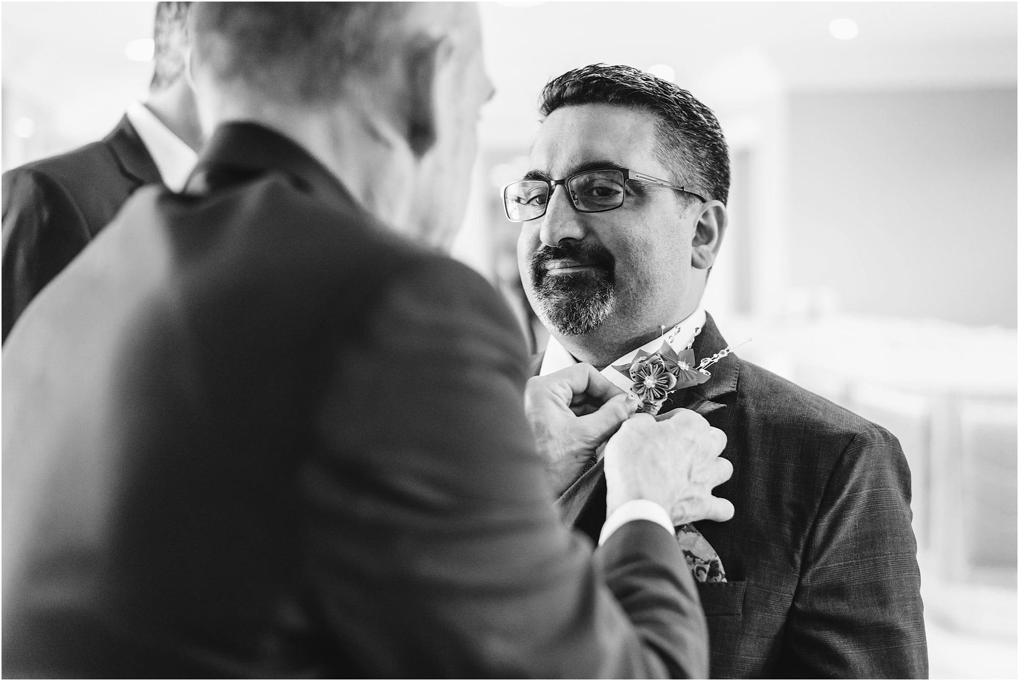 Button hole groom prep