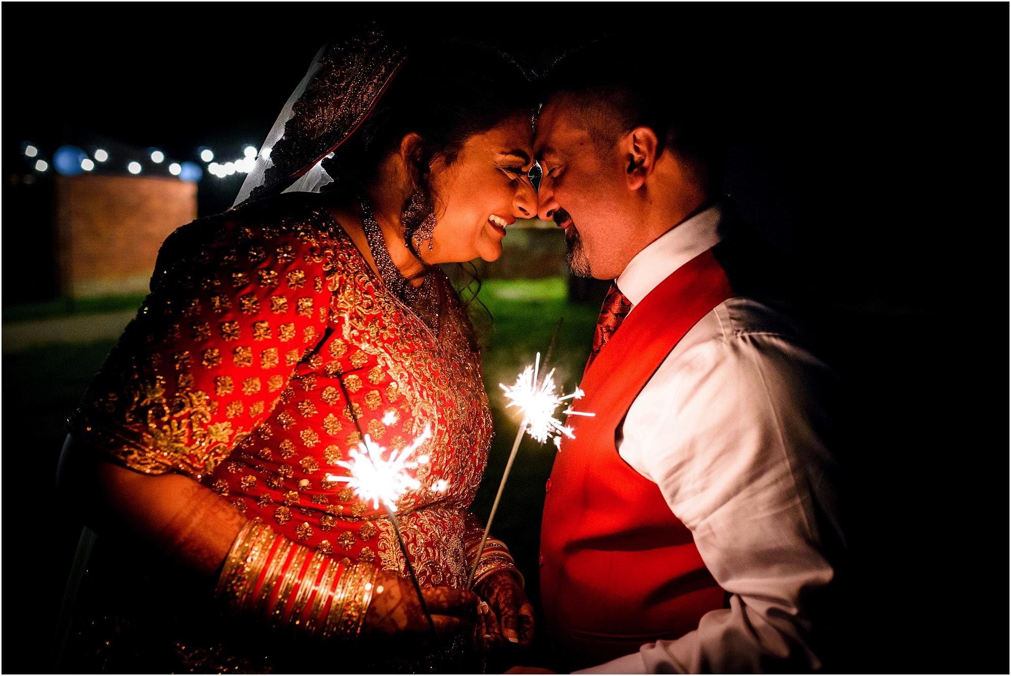 Childerley Long Barn Asian Wedding Sparkler shot